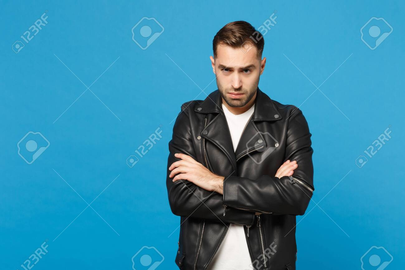 Young Sad Frustrated Worried Unshaven Man In Black Jacket White
