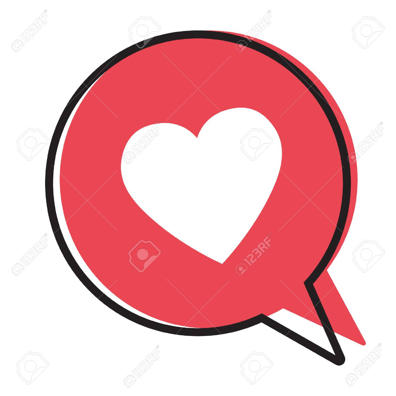 Heart In A Red Speech Bubble Love Icon Valentines Day Icon