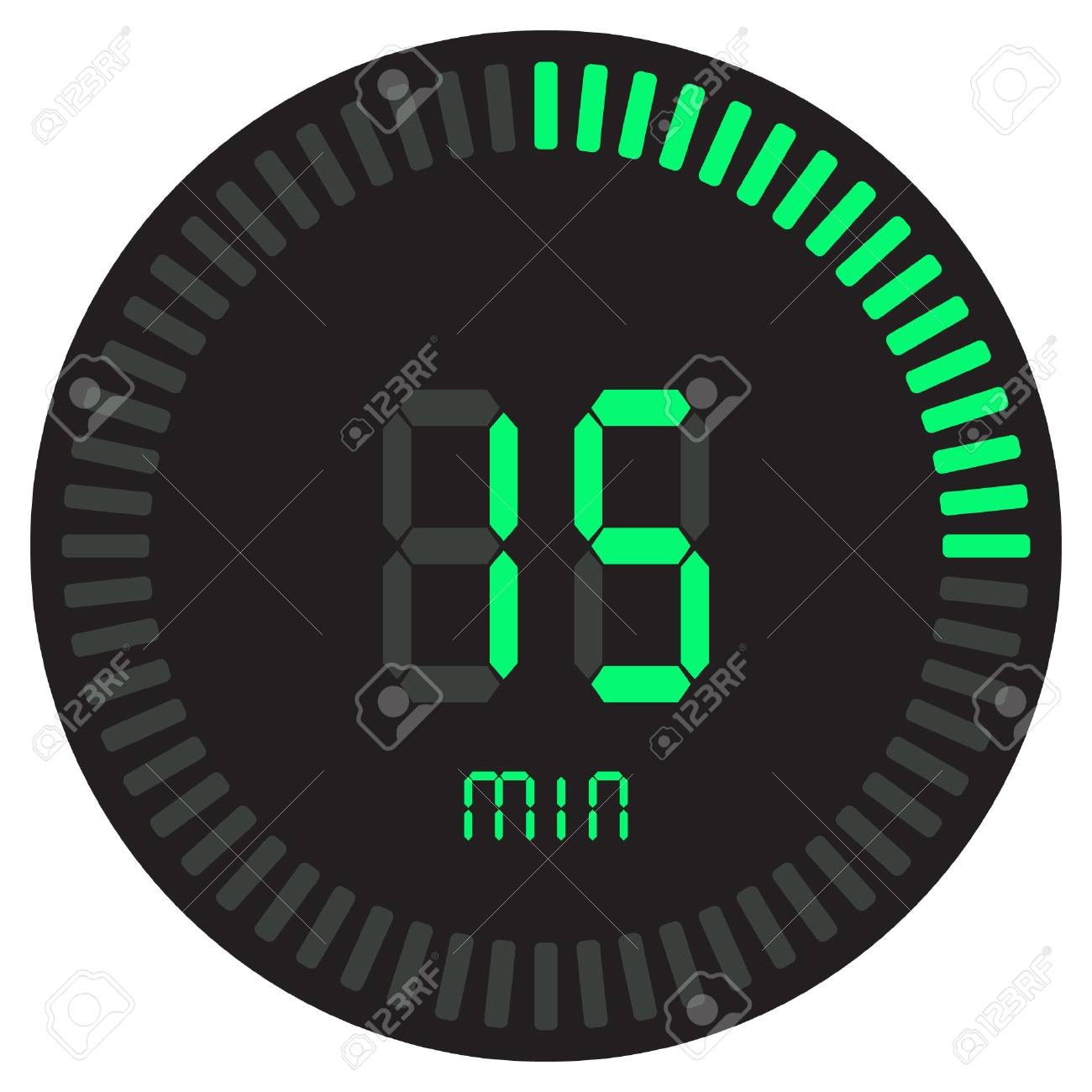 The green digital timer 15 minutes. electronic stopwatch with a gradient dial - 110535751