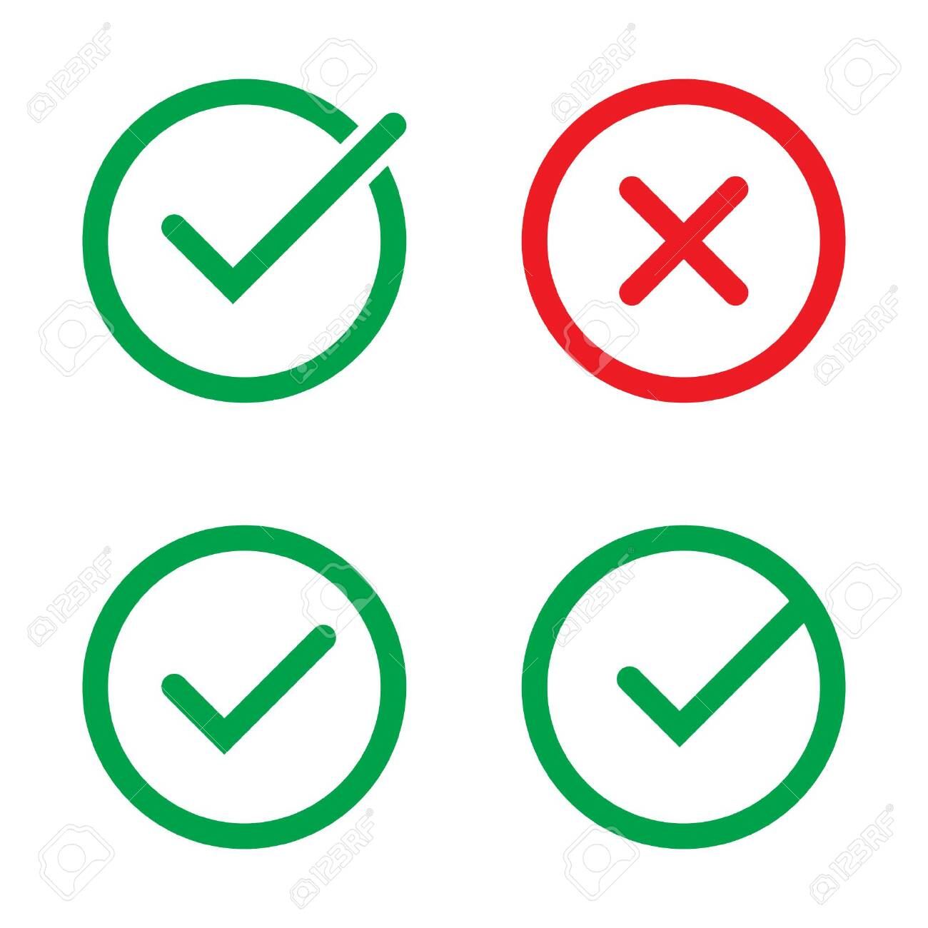 Tick and cross signs. Green checkmark and red X icons, isolated on white background. - 142257669