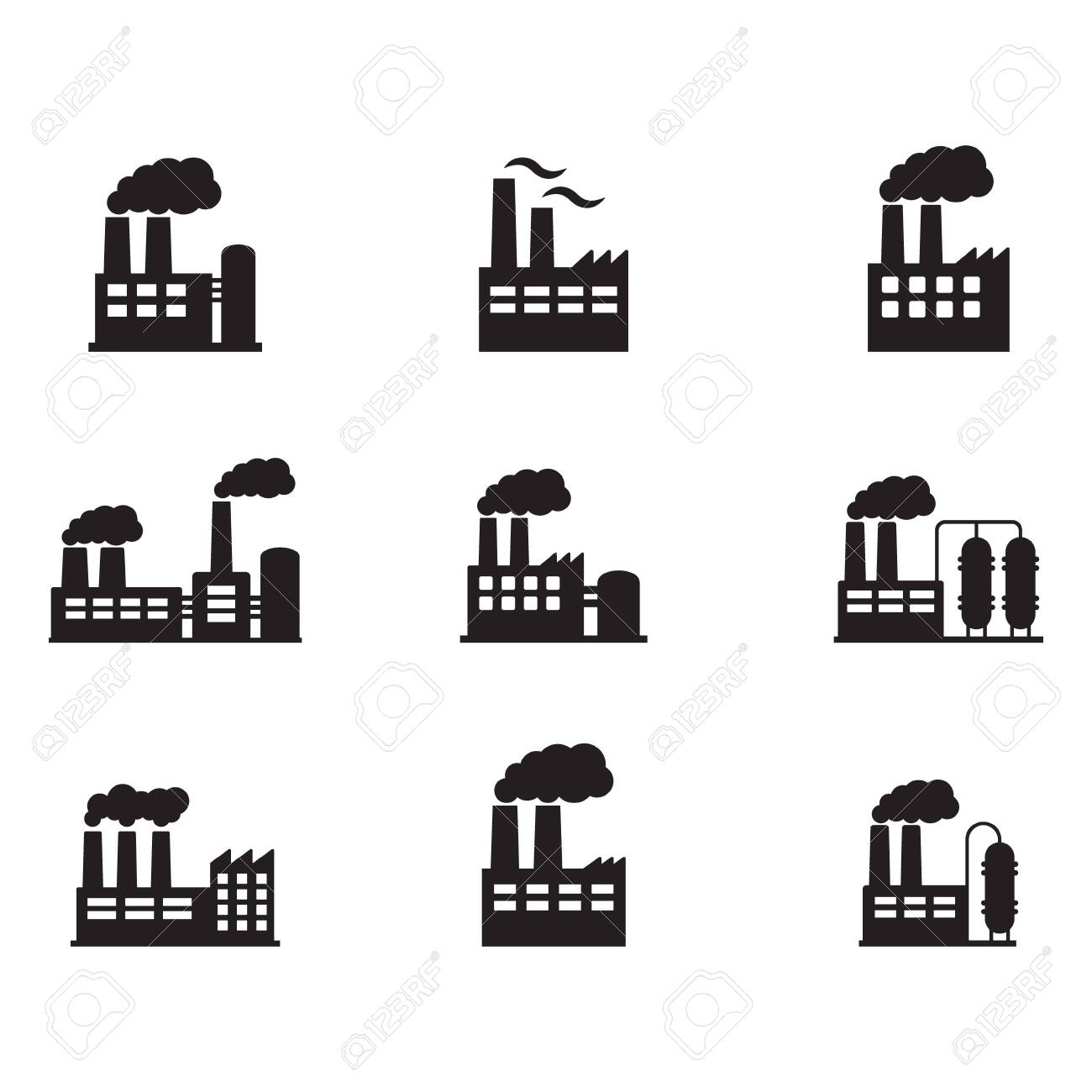 Factory icon. Vector illustration of industry icon. - 148196559