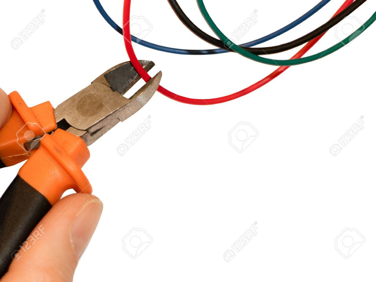 Cutting Red Wire By Wire Cutters. Safety Precautions, Bomb ...