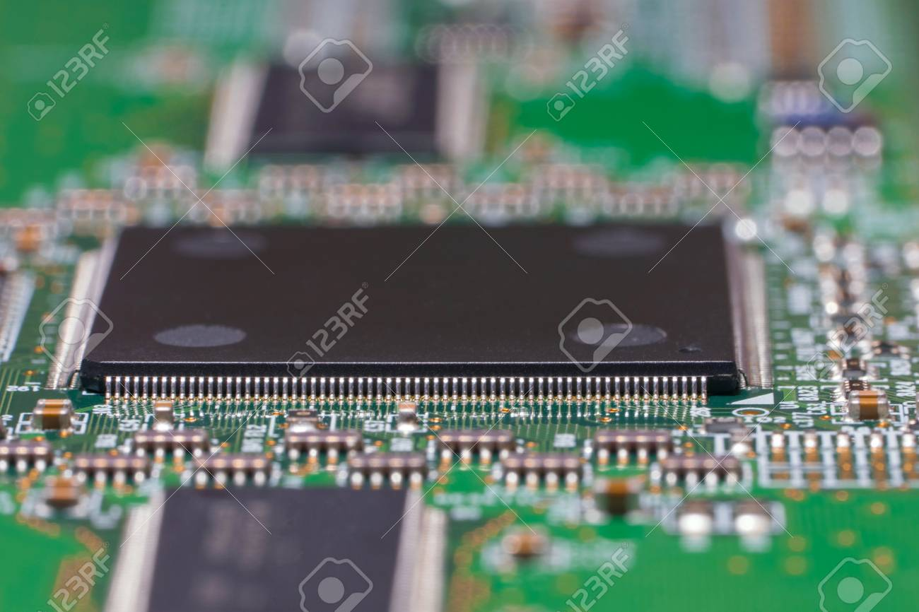 printed circuit board with chips and smd components macro rh 123rf com