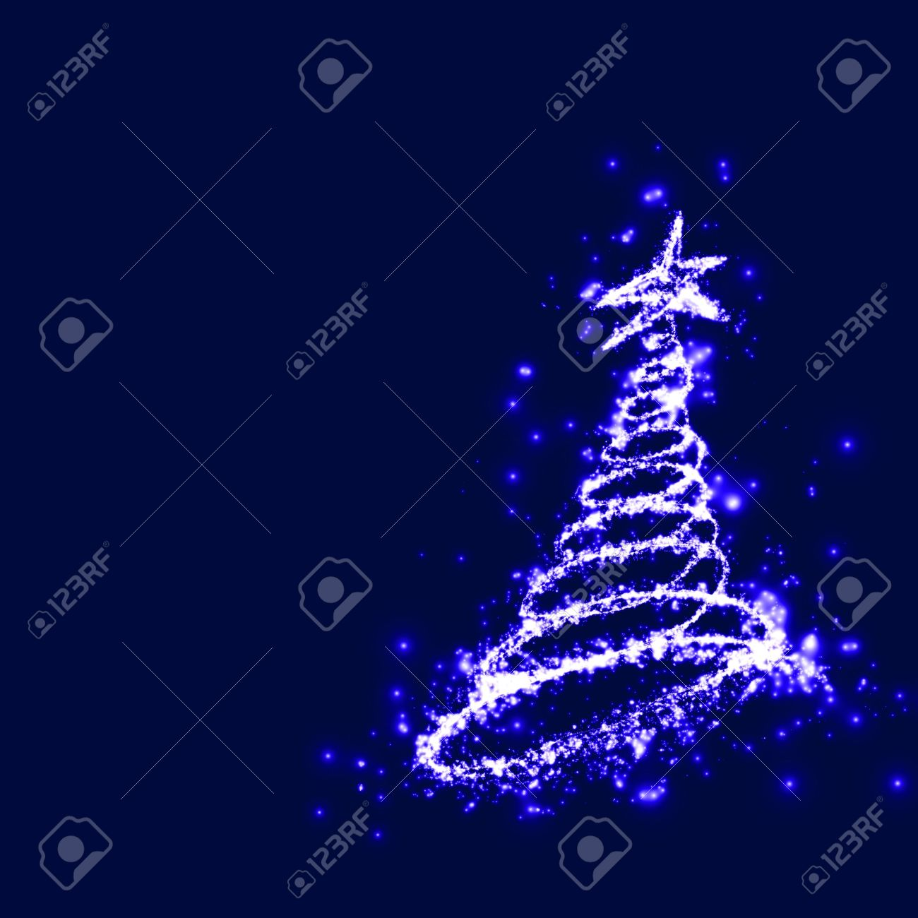 Christmas Magic Christmas Tree At The Dark Blue Holy Night Of  - Magic Christmas Tree