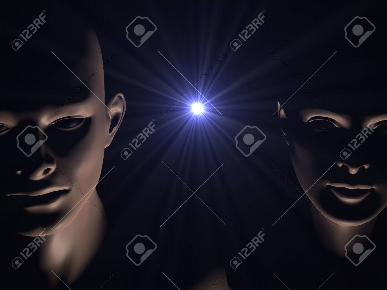 human faces and star burst representing birth of life in space Stock Photo - 7630681