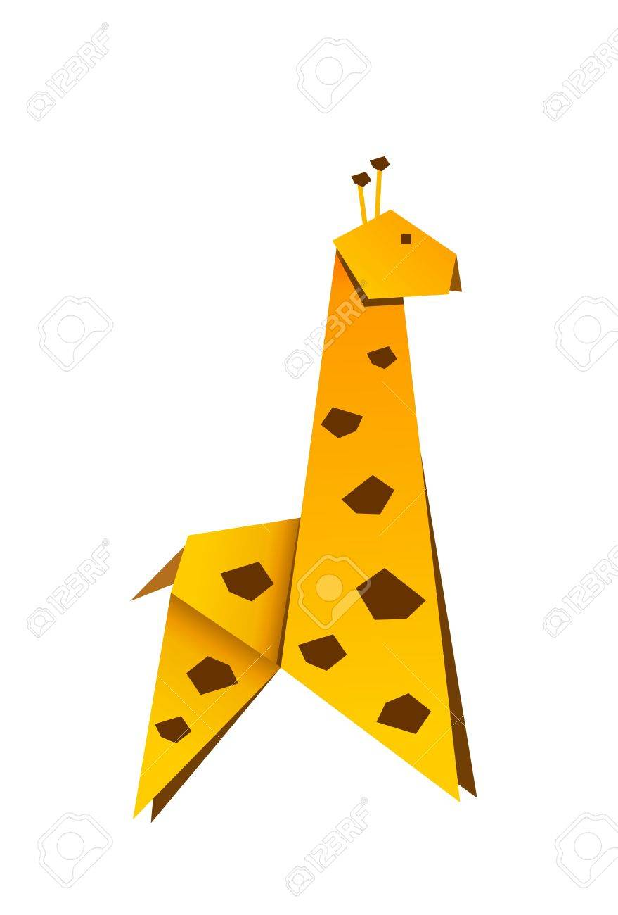Yellow Childish Origami Giraffe Stock Photo Picture And Royalty