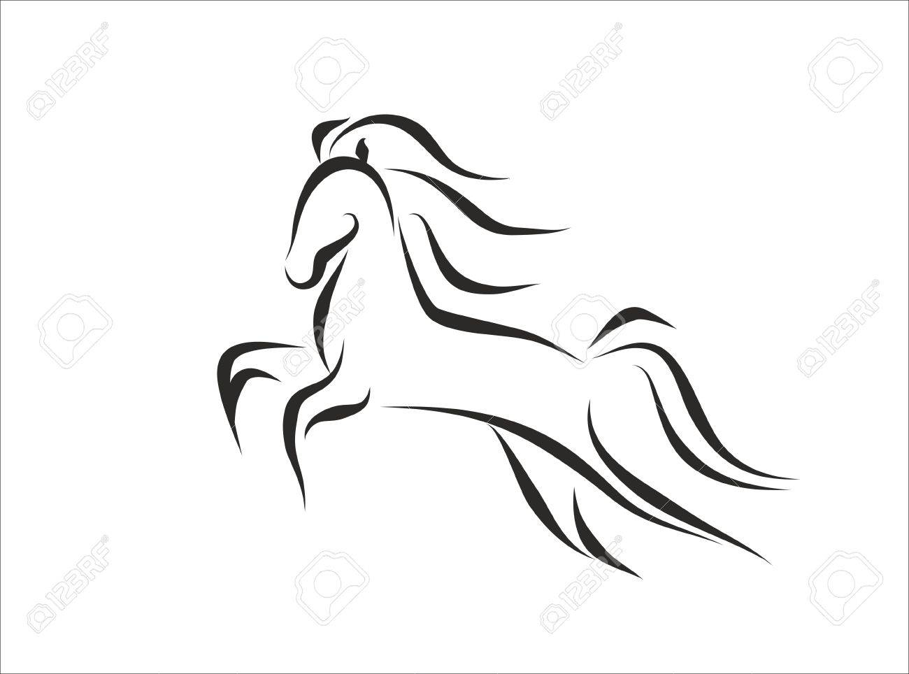 Silhouette Of A Wild Horse Jumping Stock Photo Picture And Royalty Free Image Image 68349413