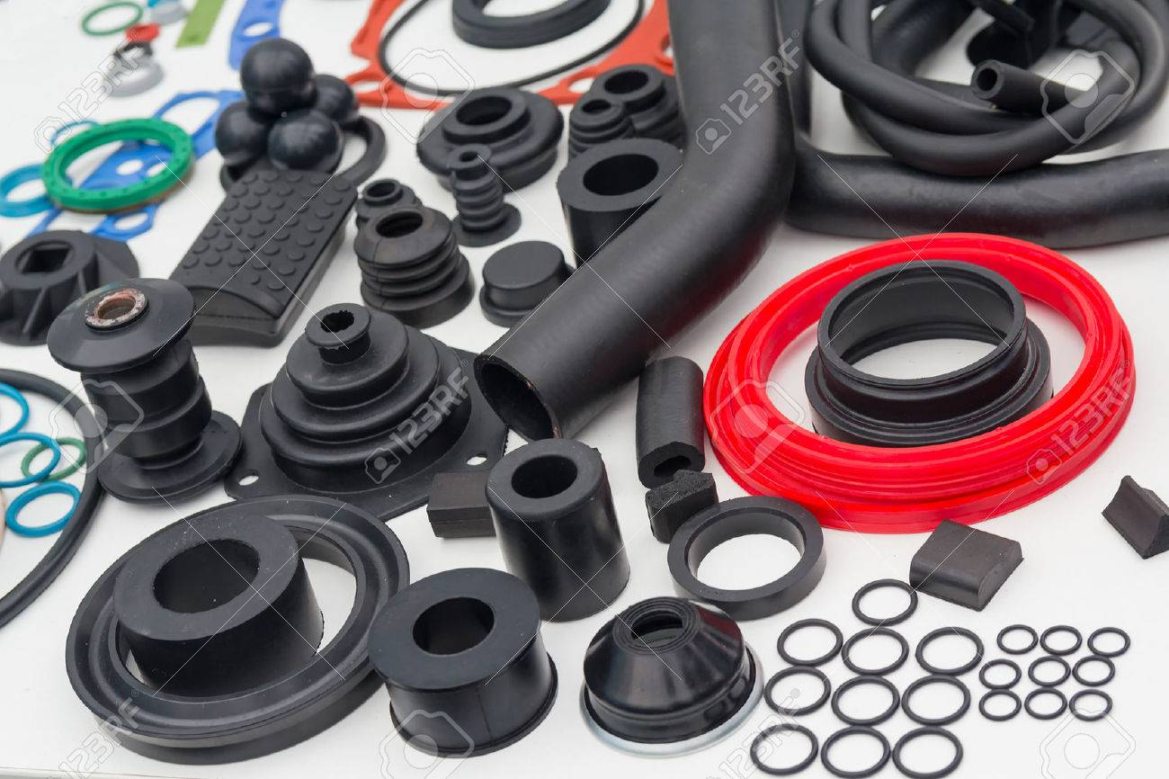 Various rubber products and sealing products at the exhibition stand. Industry - 61844110