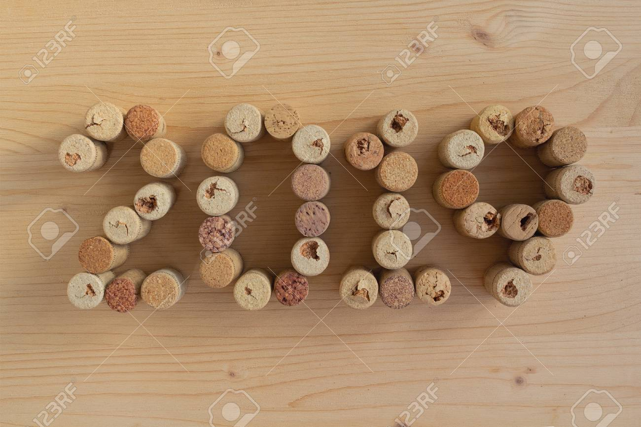 Wine corks closeup 2019. New Year\'s decoration