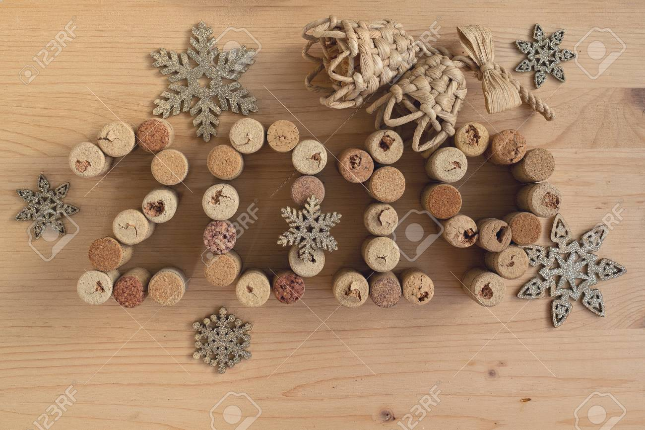 Wine Corks Closeup 2019 New Year S Decoration