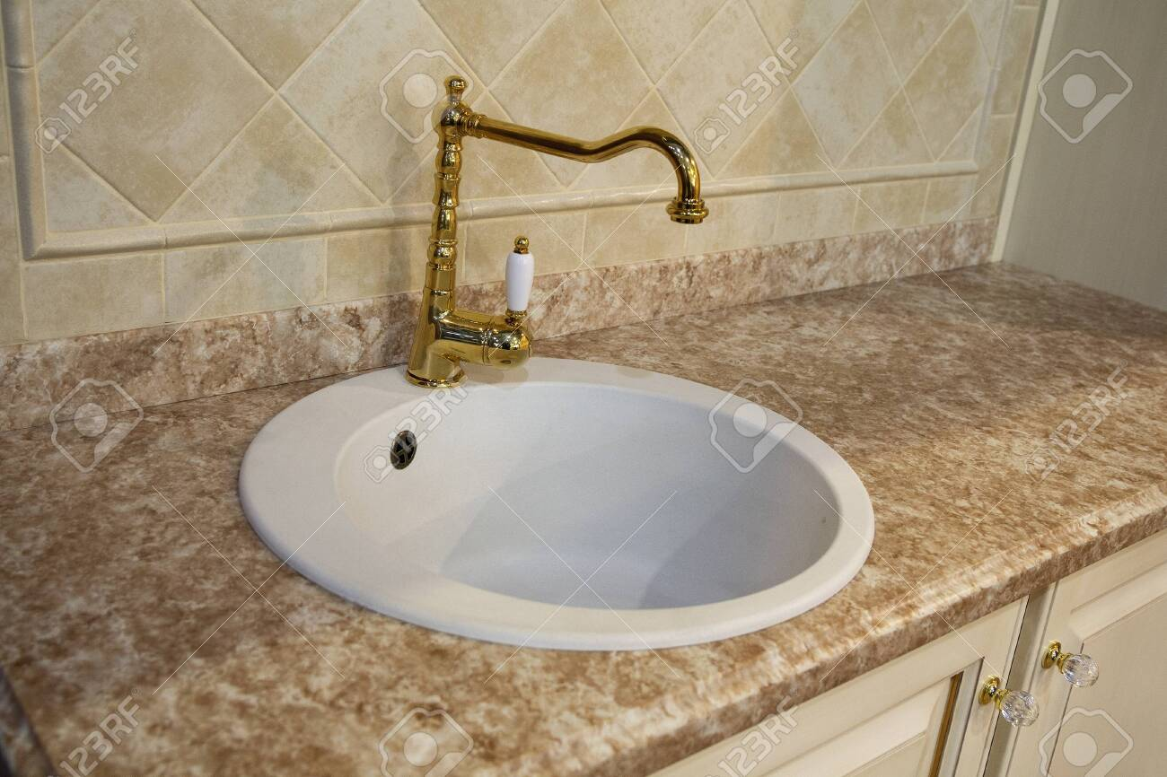 Elegant Sink In Retro Style In The Bathroom Interior Stock Photo Picture And Royalty Free Image Image 144761309