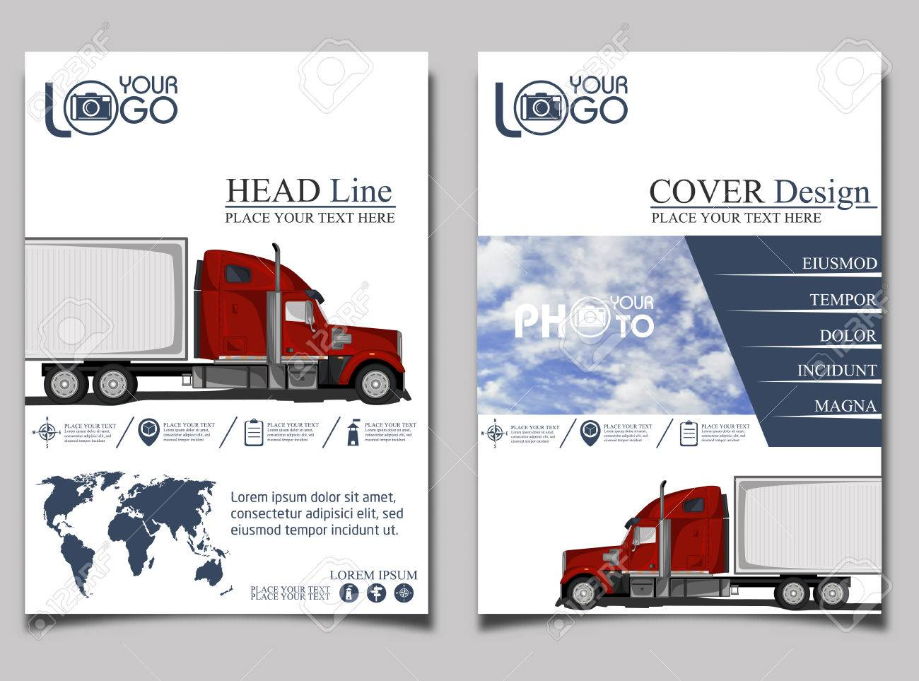 trucking flyer with red truck flyer design template vector