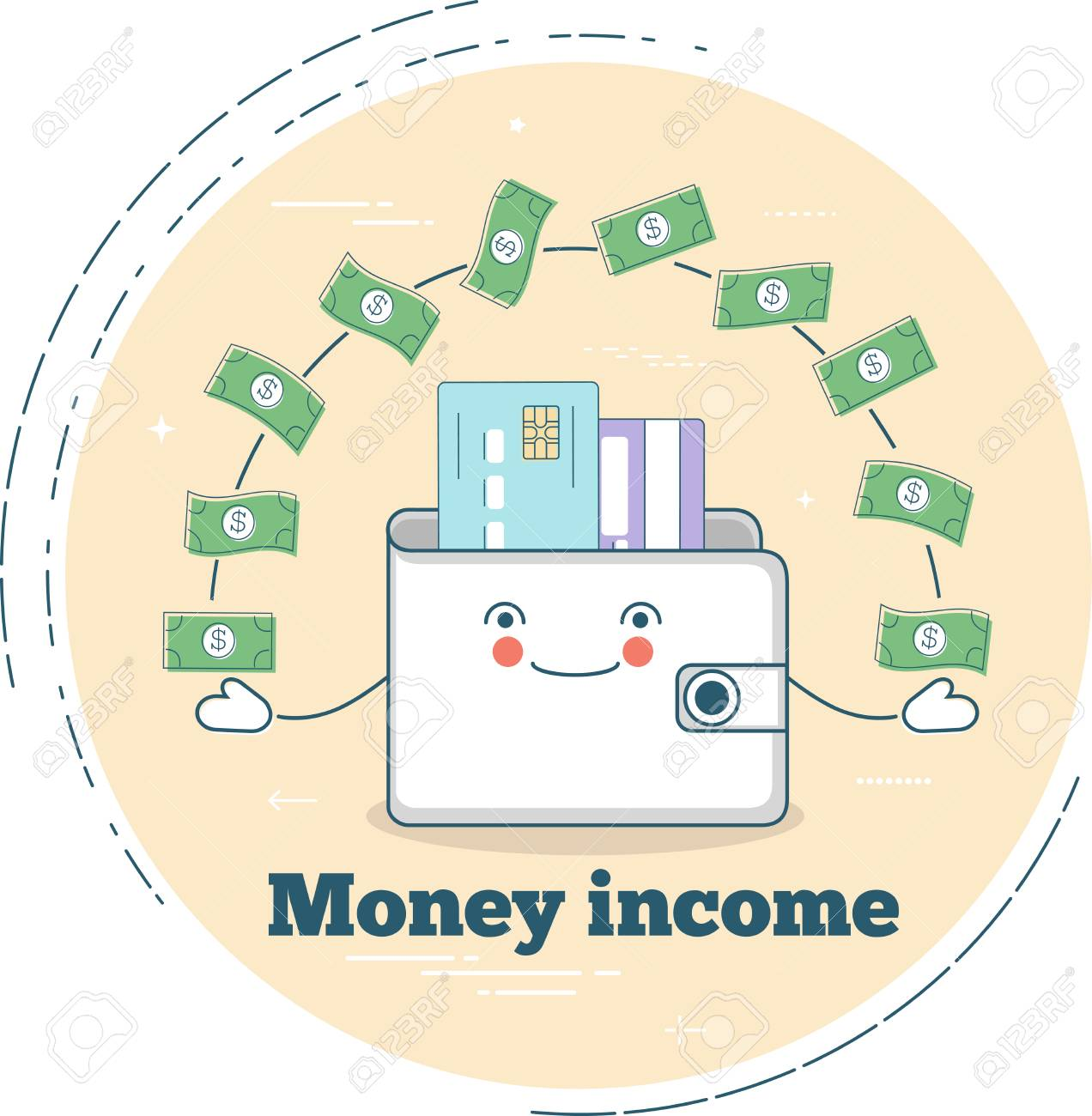 Money income trendy concept in line art style  Banking and finance,