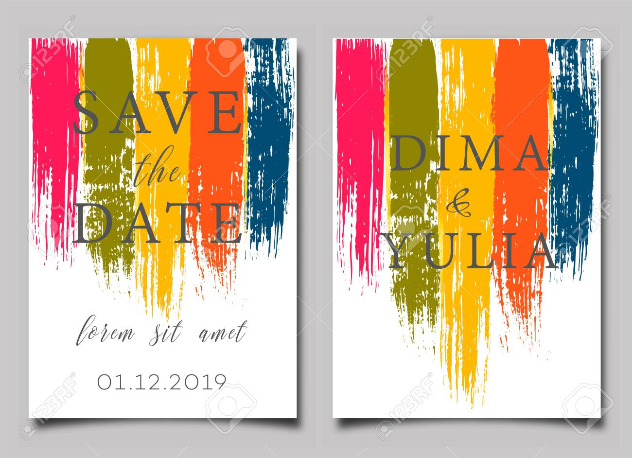 Wedding Invitation Or Anniversary Card Templates With Brush Strokes