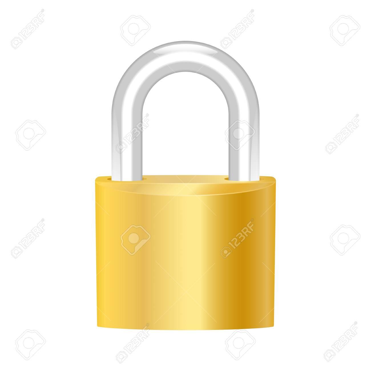 Brass padlock. Stock Vector - 13966473
