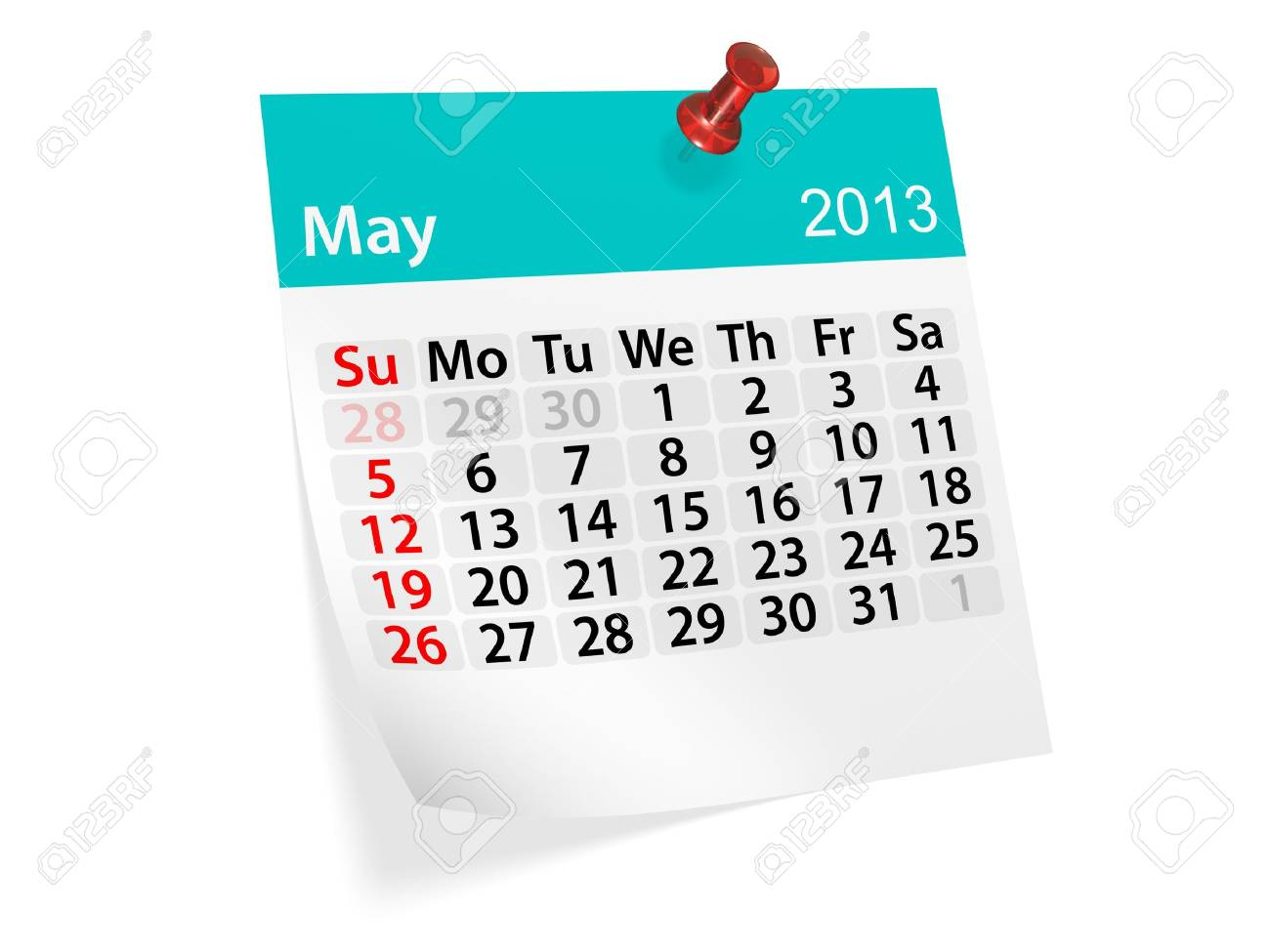 Monthly calendar for New Year 2013  May Stock Photo - 16643456