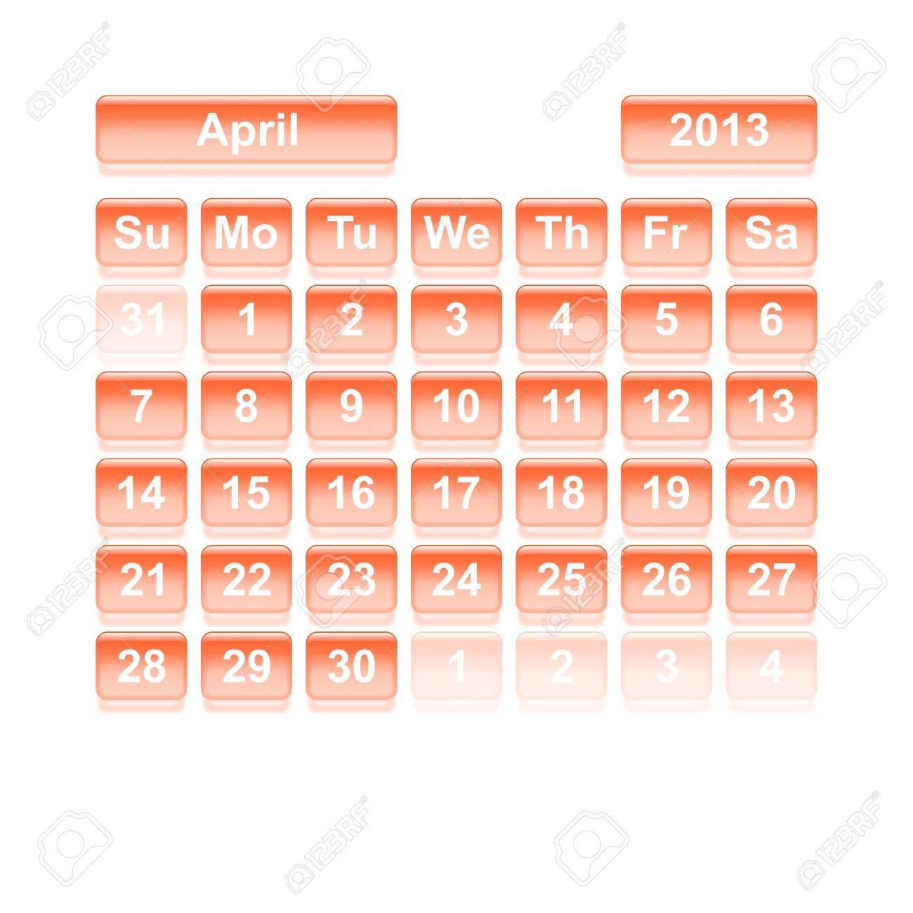 Monthly calendar for New Year 2013  April Stock Vector - 16818361