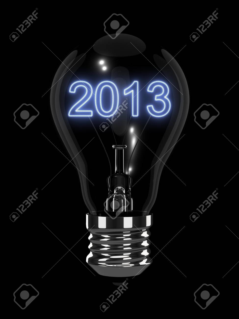 New Year 2013 light bulb. Isolated on the black background. Stock Photo - 16855294