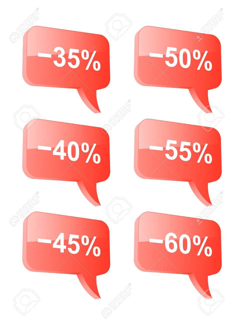 Discount speech bubbles  Part two  illustration Stock Vector - 18732971