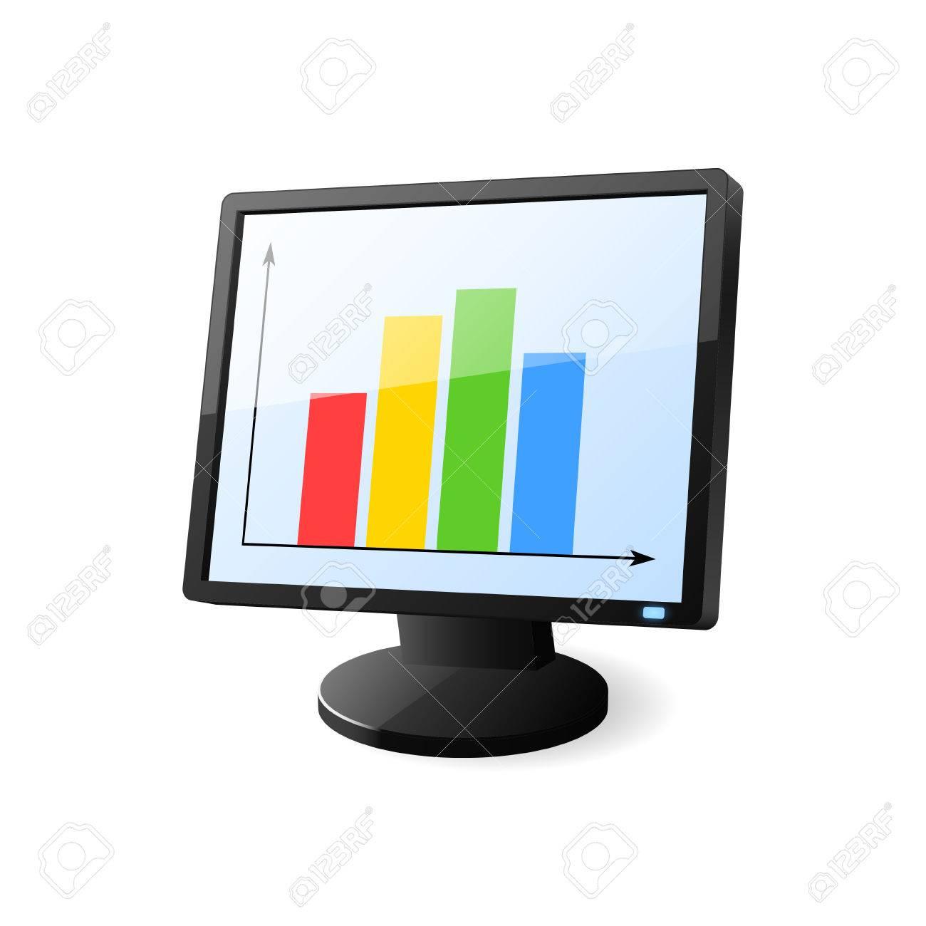 desktop computer with diagram on screen vector illustration