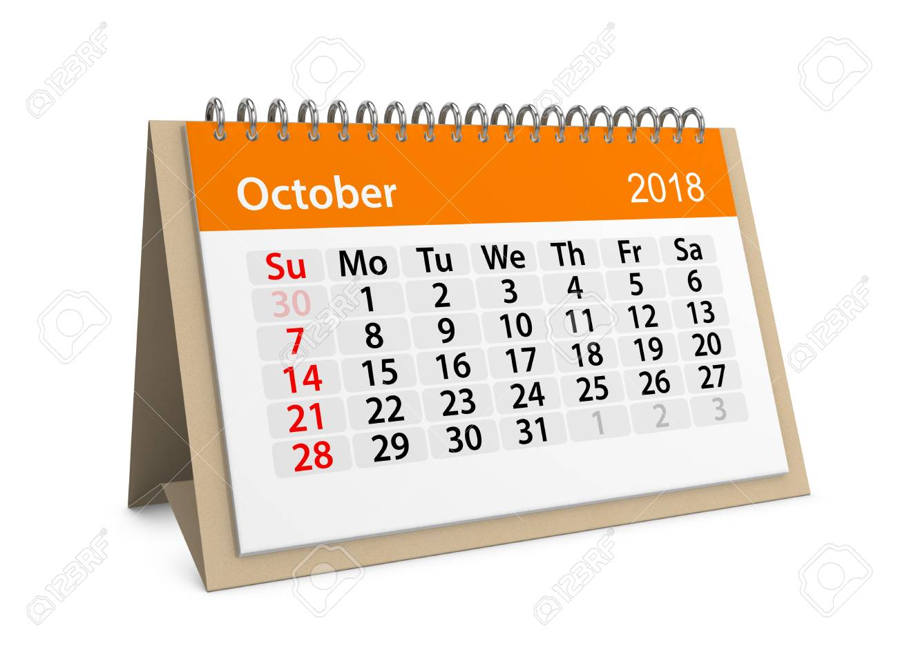 illustration monthly table calendar for october 2018 3d illustration