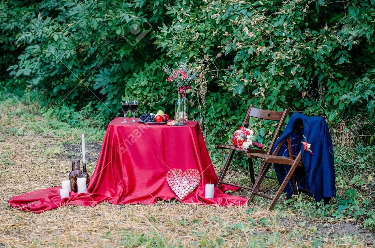 Hochzeitsdekorationen Im Freien Glaser Wein Teller Mit Fruchten