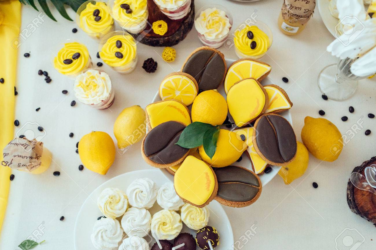 Holiday Candy Bar In Yellow And Brown Color. Wedding Candy Bar ...