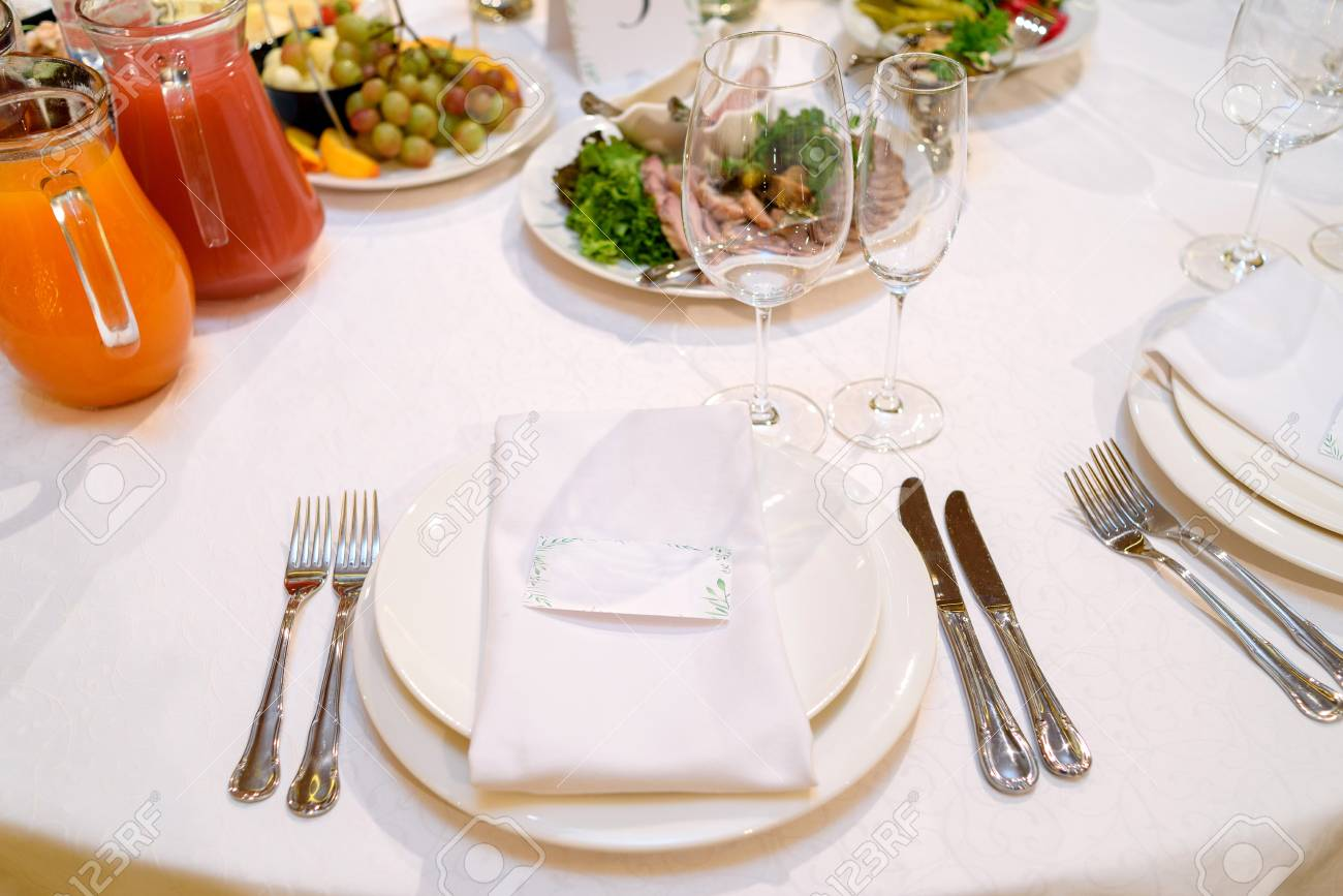 Dinner Place Setting With Blank Guest Card On White Table Napkin Stock Photo Picture And Royalty Free Image Image 99051606