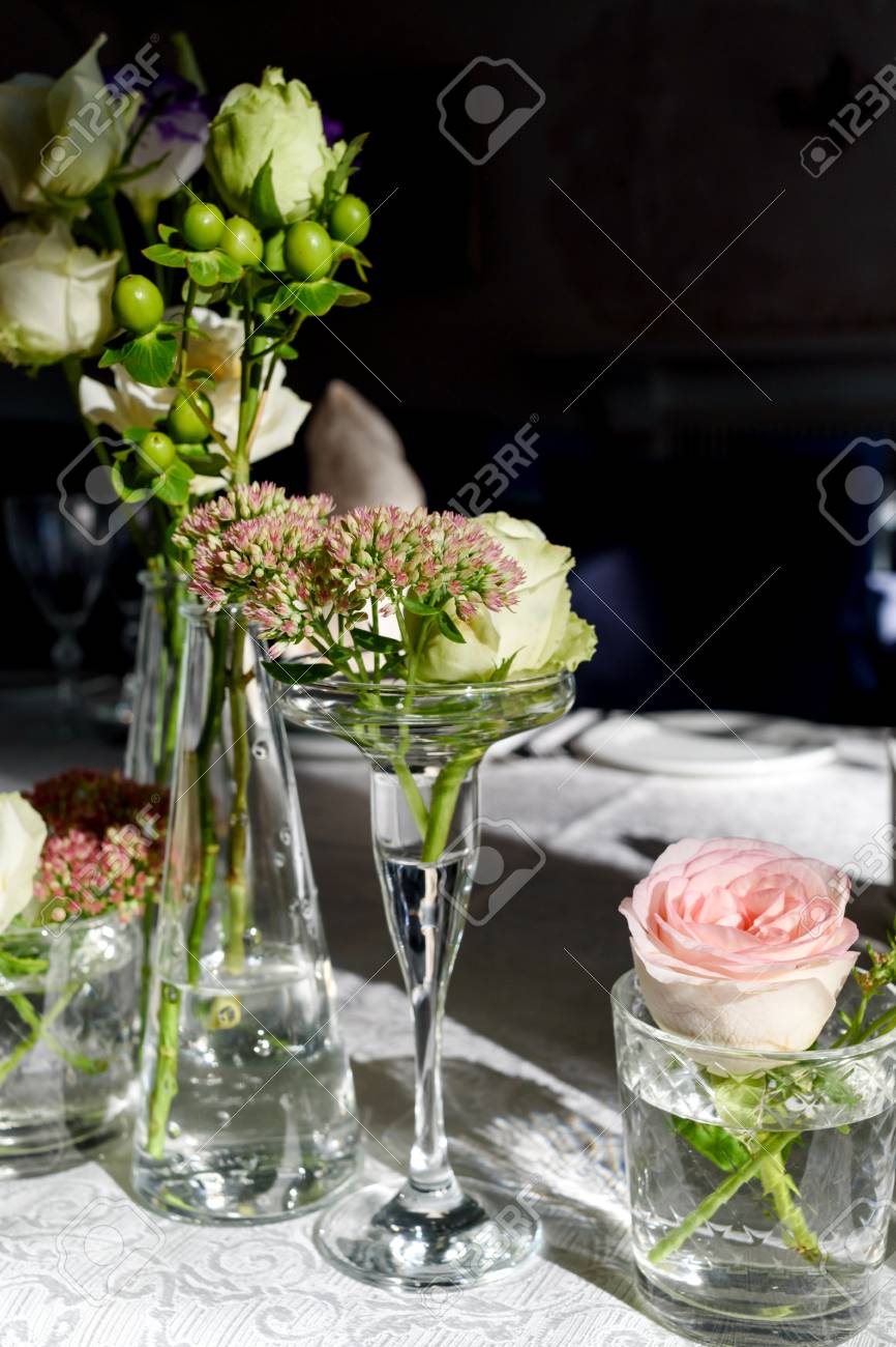 Beautiful Fresh Flowers On Table In Wedding Day Free Space Stock