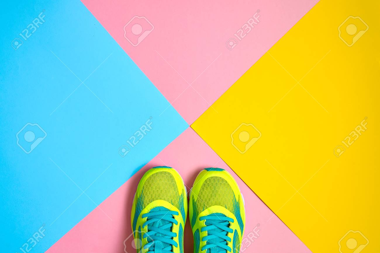 Sport Shoes On Colorful Background
