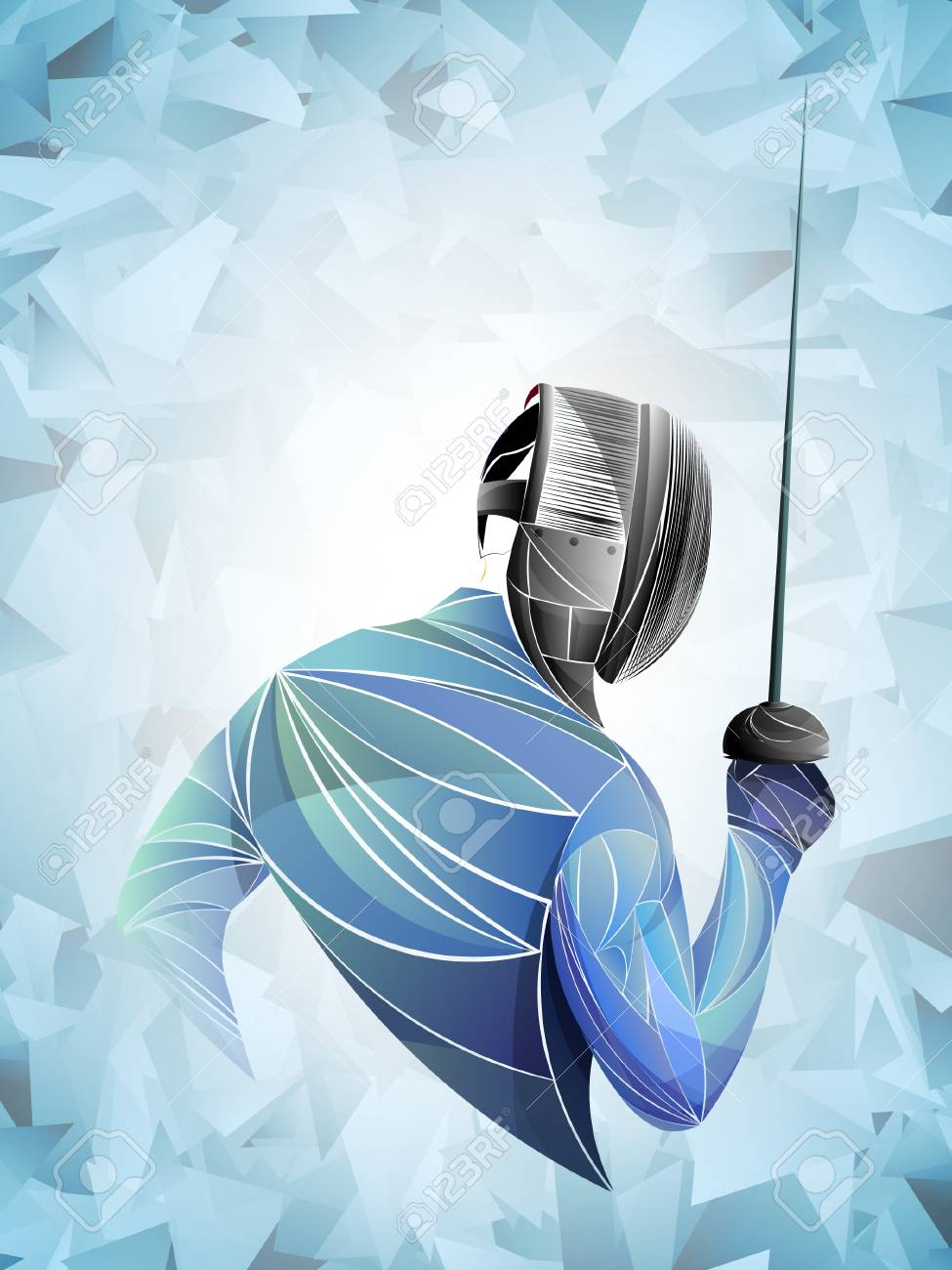Fencer. Man wearing fencing suit practicing with sword. Sports arena and lense-flares. Neon effect. Vector illustration. - 110314796