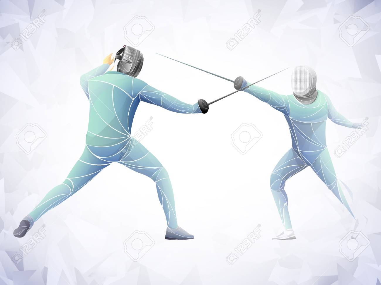 Fencer. Man wearing fencing suit practicing with sword. Sports arena and lense-flares. Neon effect. Vector illustration. - 110314801