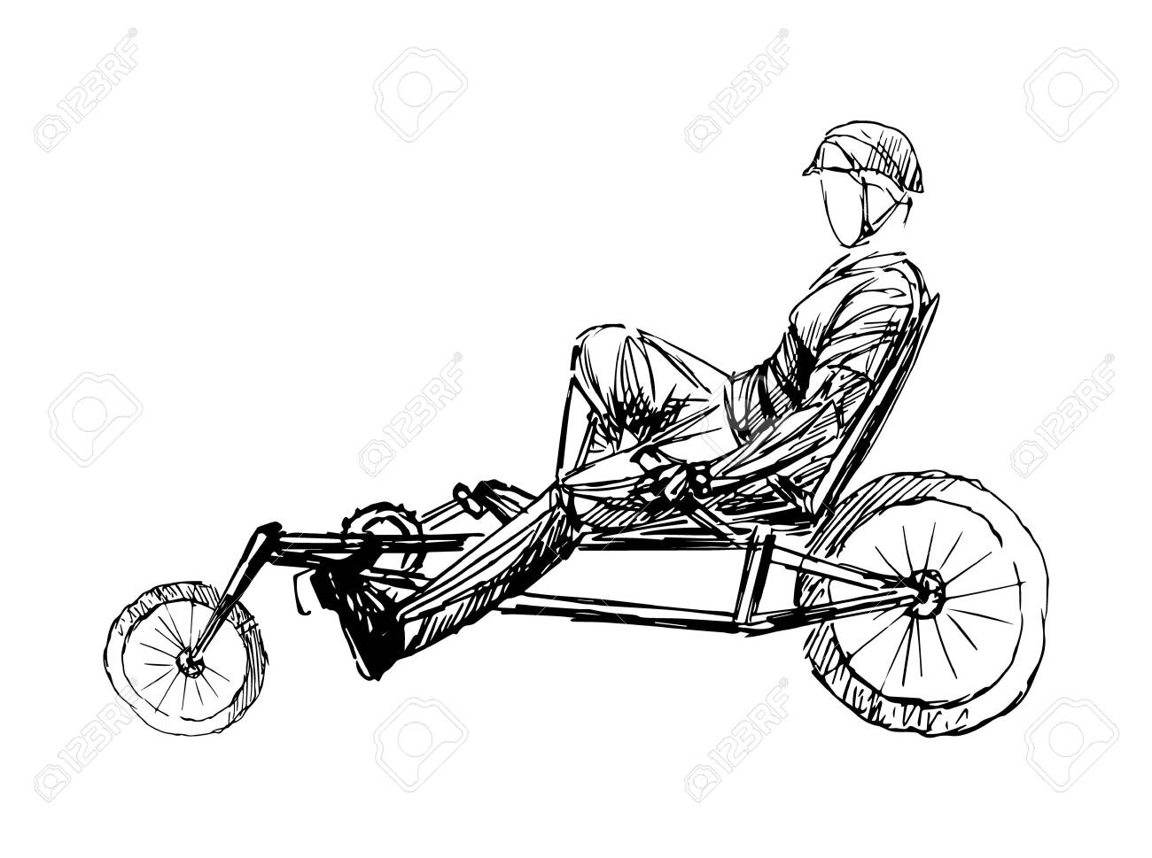 Stylized, geometric bicyclist, cyclist sketch isolated. Sportsman, athlete silhouette illustration vector. - 138426881