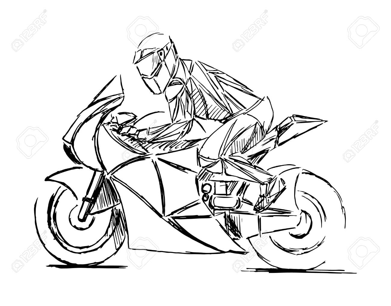 A stylized, geometric motorcycle vector. Motocross rider creates a huge cloud of dust. motorbike on the forest road riding. having fun driving the empty road. - 138427069