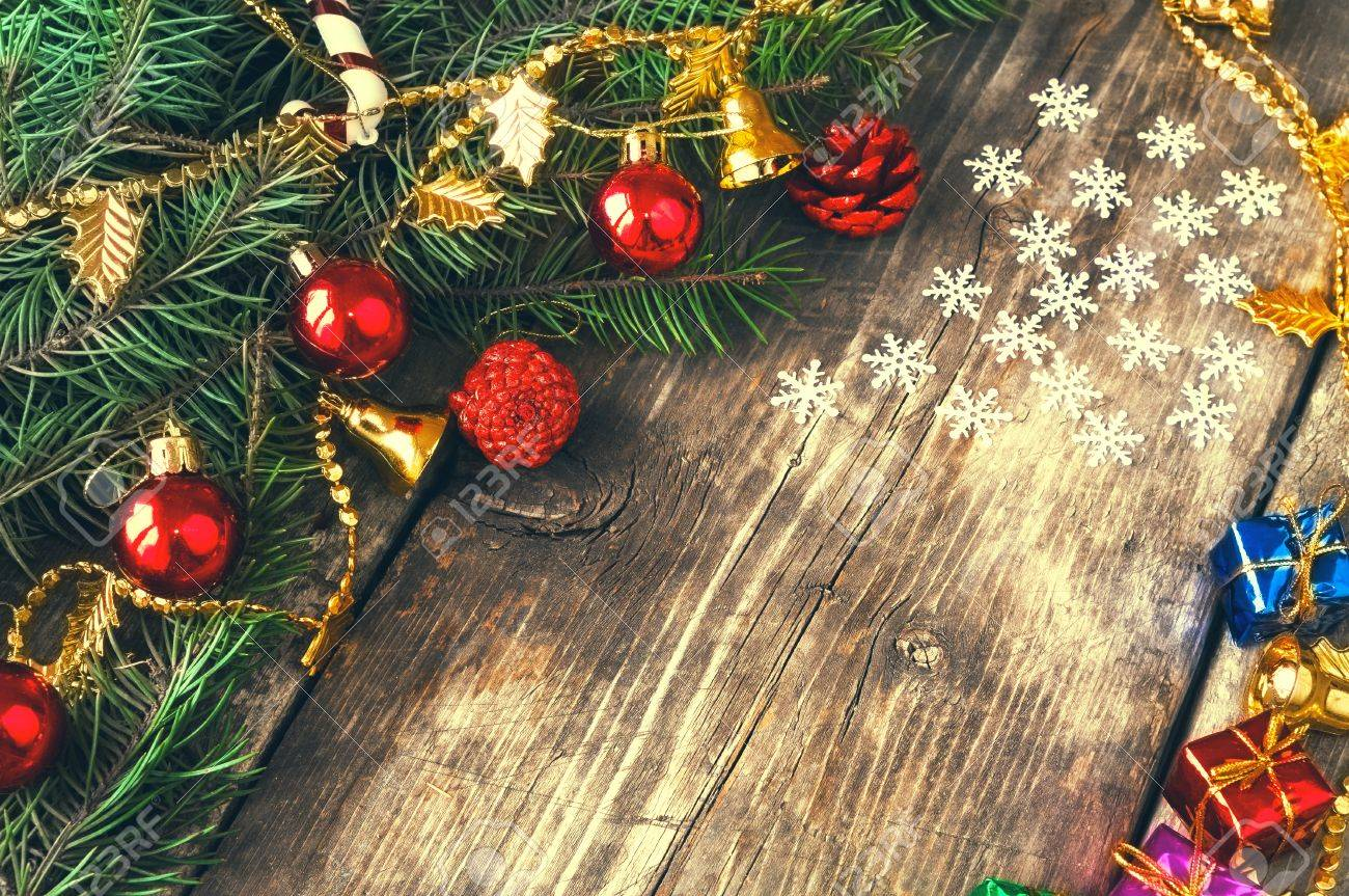 Branches Of A Christmas Tree On Old Boards Christmas Background New Year Background
