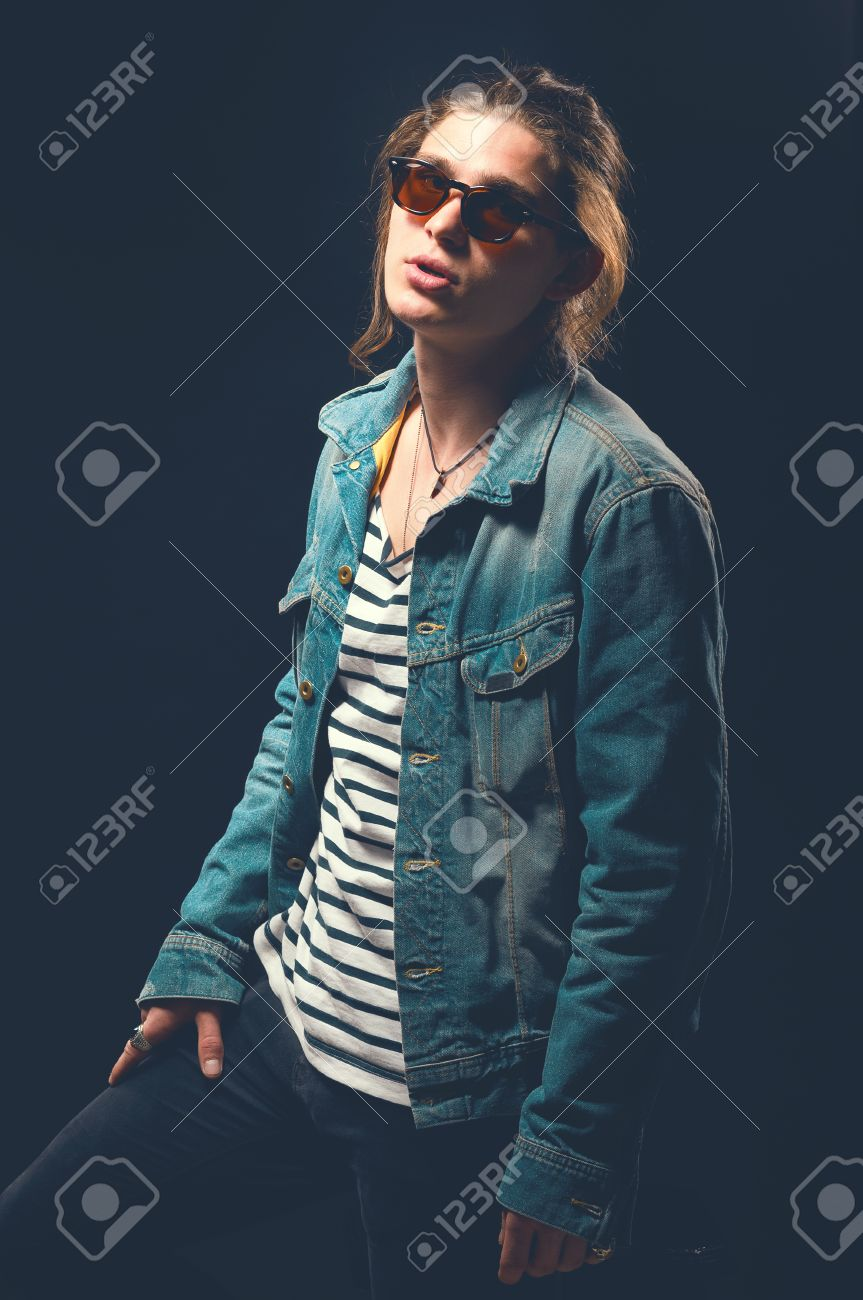 rock and roll man guy in a rocker clothes rock style casual