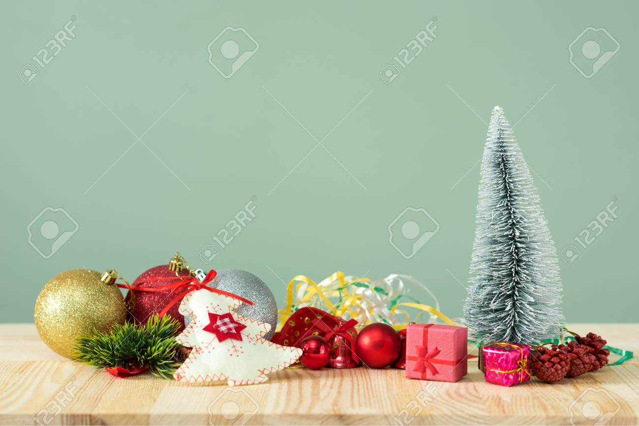 Christmas Background Little Christmas Tree With Decorations Stock