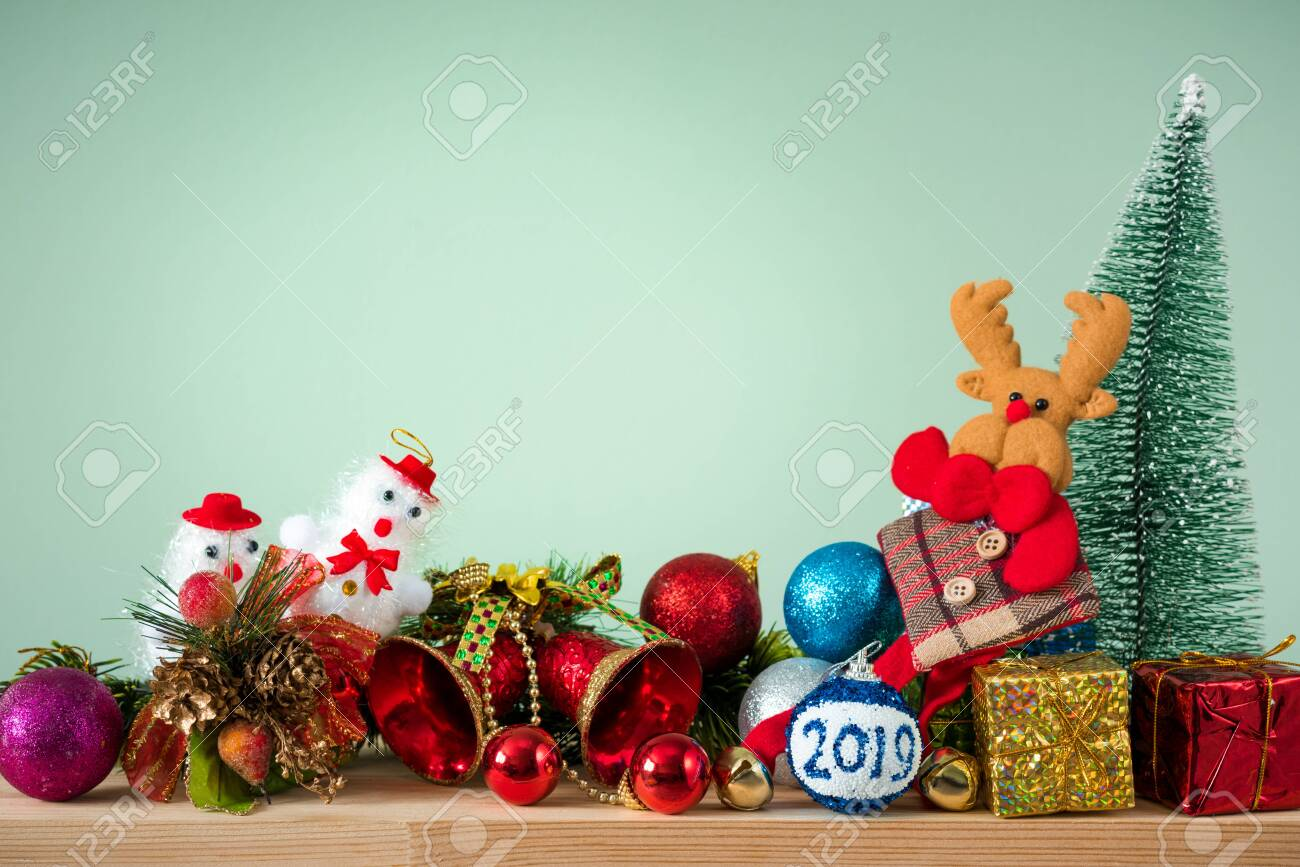 Christmas Background 2019 Of Decorations On The Table
