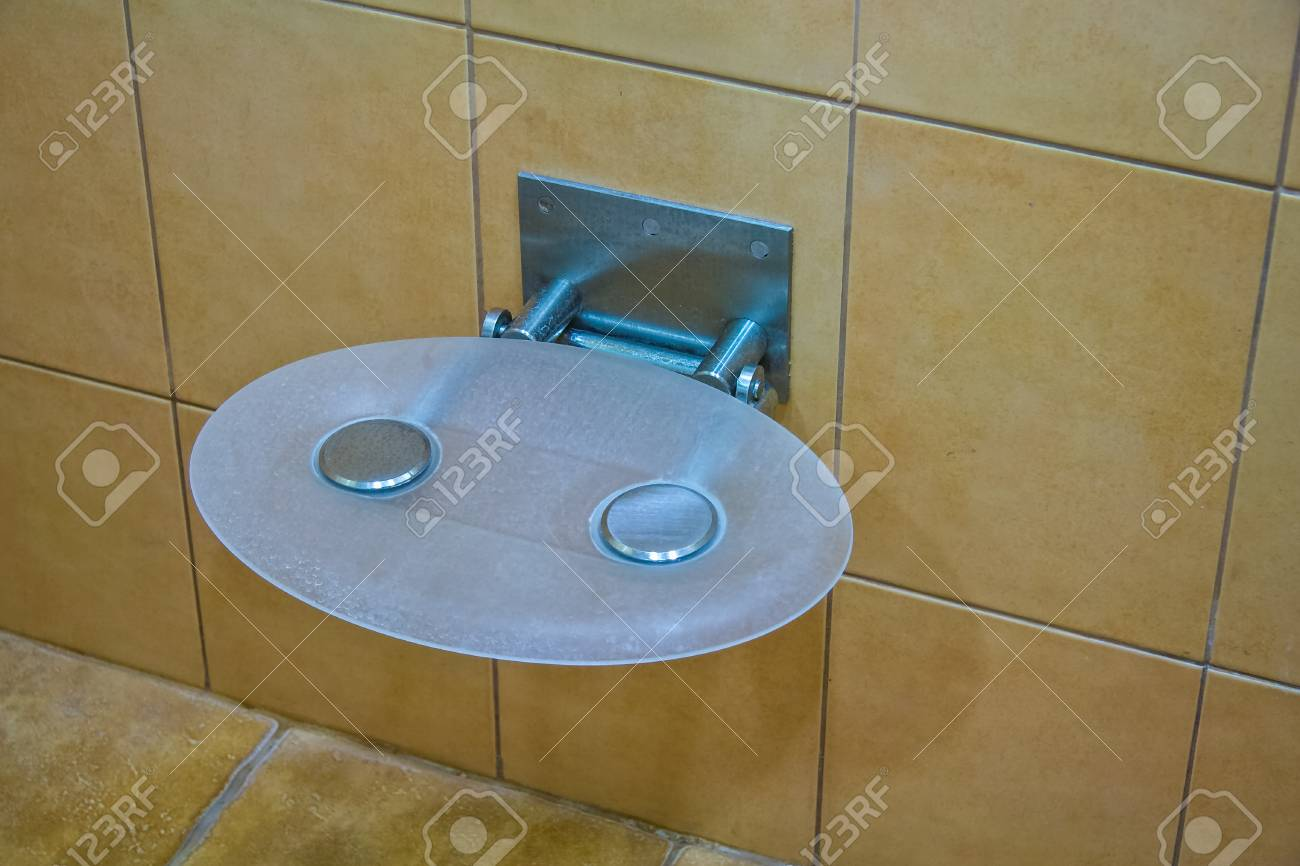 Folding Chair In The Shower In The Bathroom Stock Photo, Picture And ...