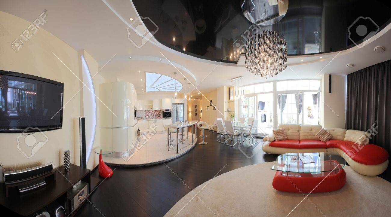 appartamento moderno, soggiorno con angolo cottura foto royalty ... - Foto Soggiorno Con Angolo Cottura