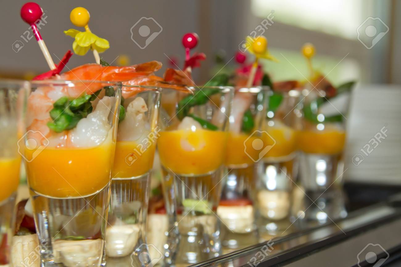a variety of delicious canapés Stock Photo - 12940463