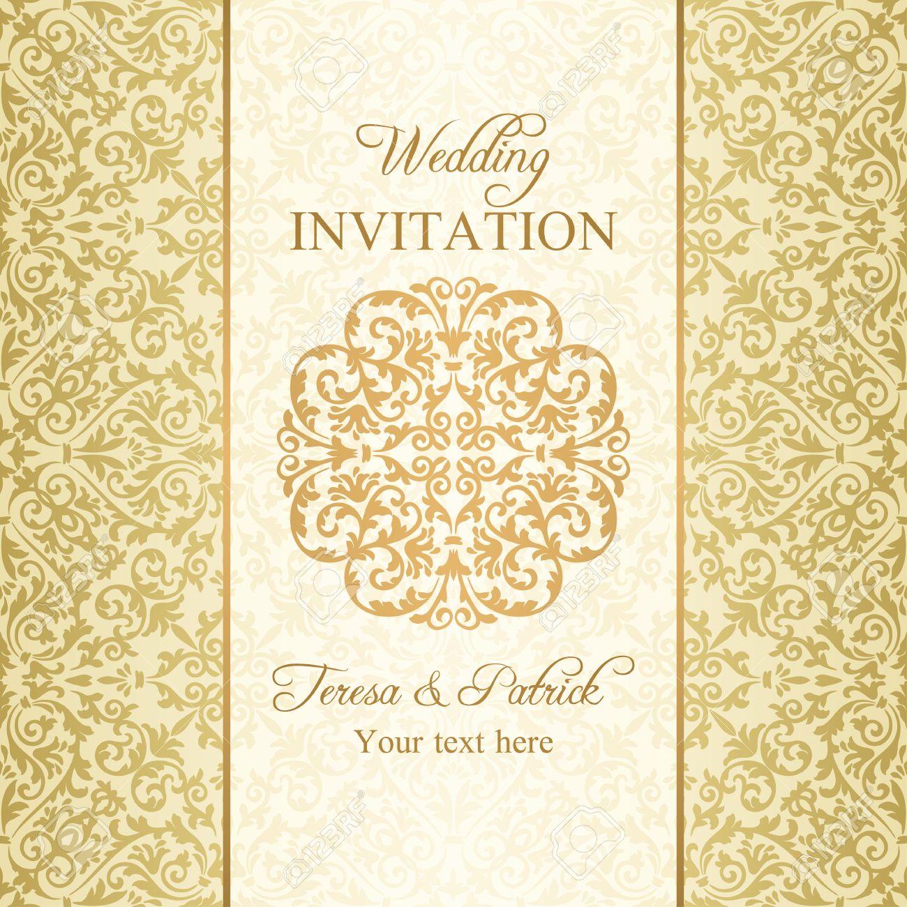 Baroque Wedding Invitation Gold On Beige Background