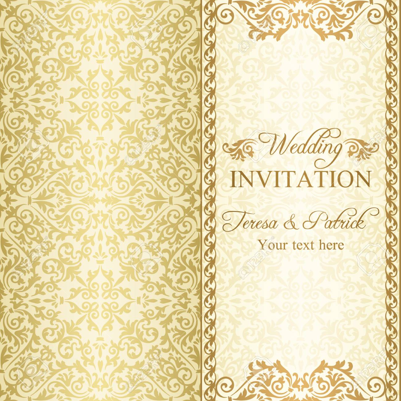 antique baroque wedding invitation gold on beige background royalty