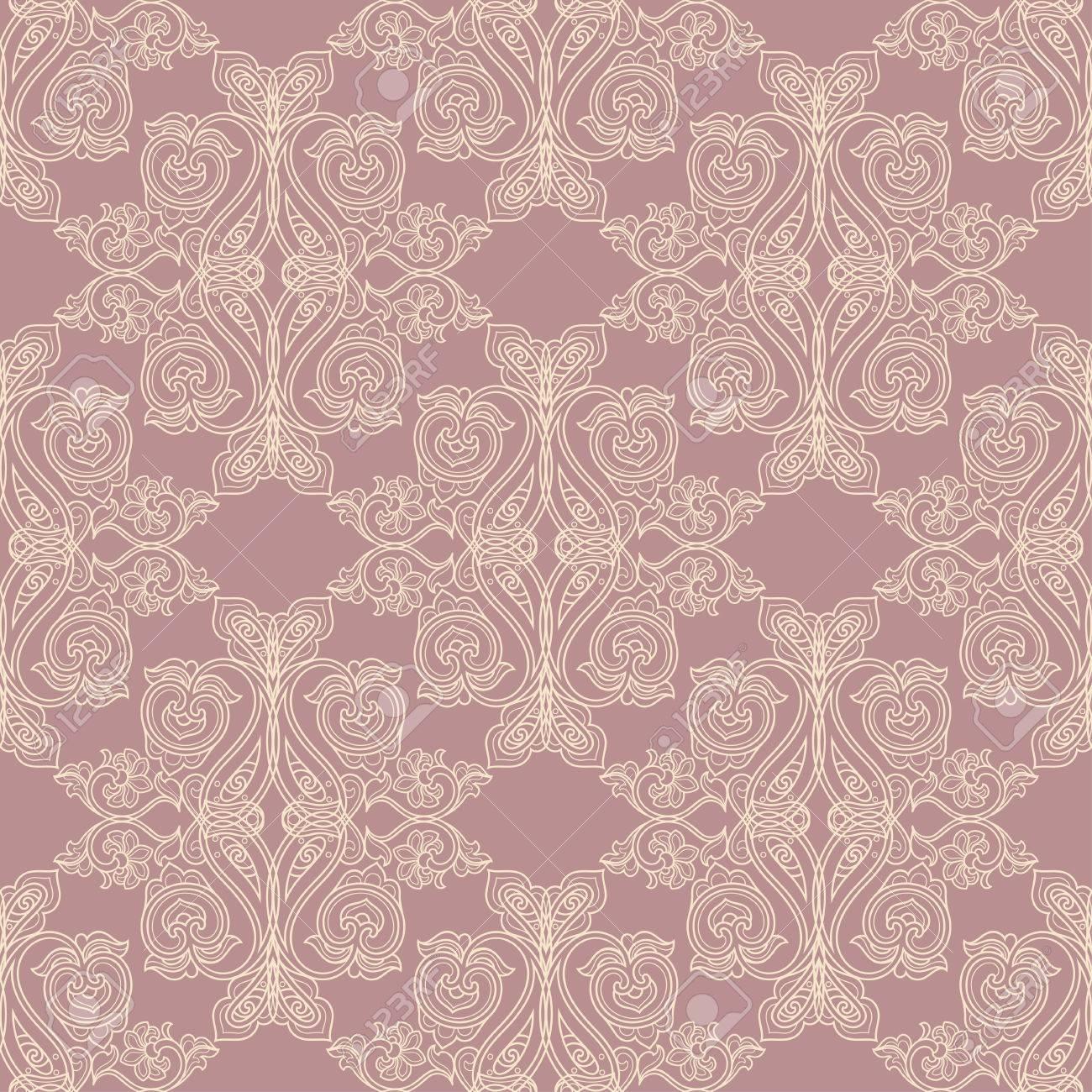 Vettoriale Rosa E Beige Antico Barocco Modello Depoca Senza