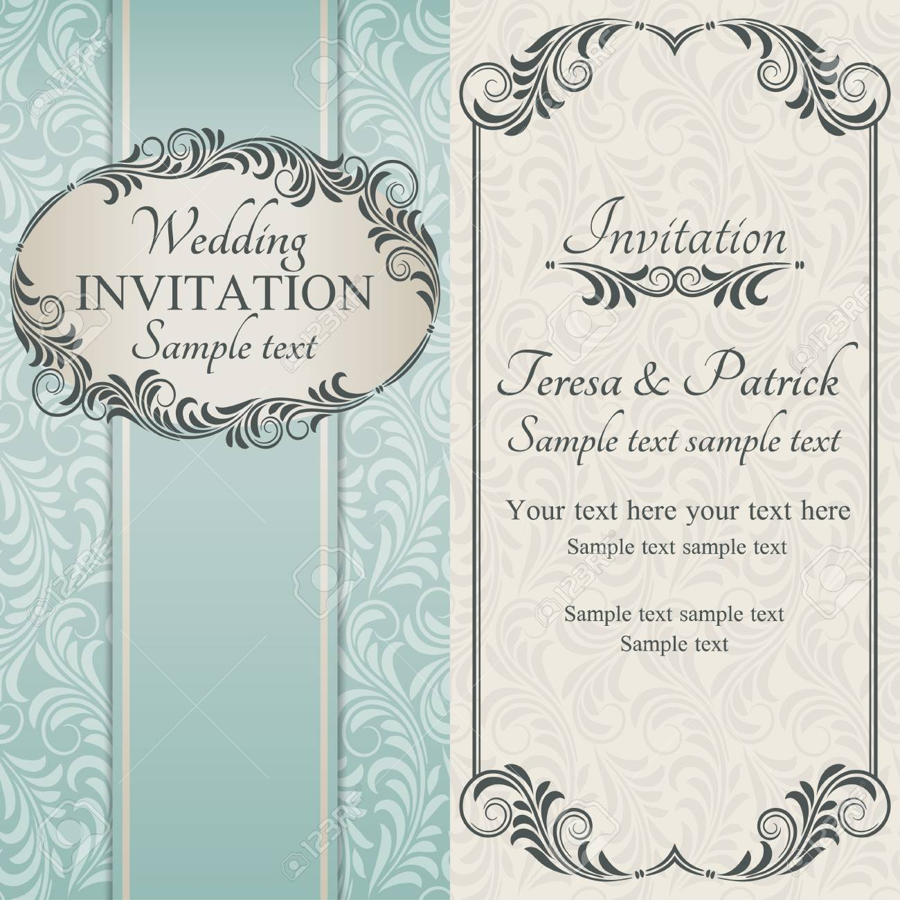 Antique Baroque Wedding Invitation Brown On Beige And Blue