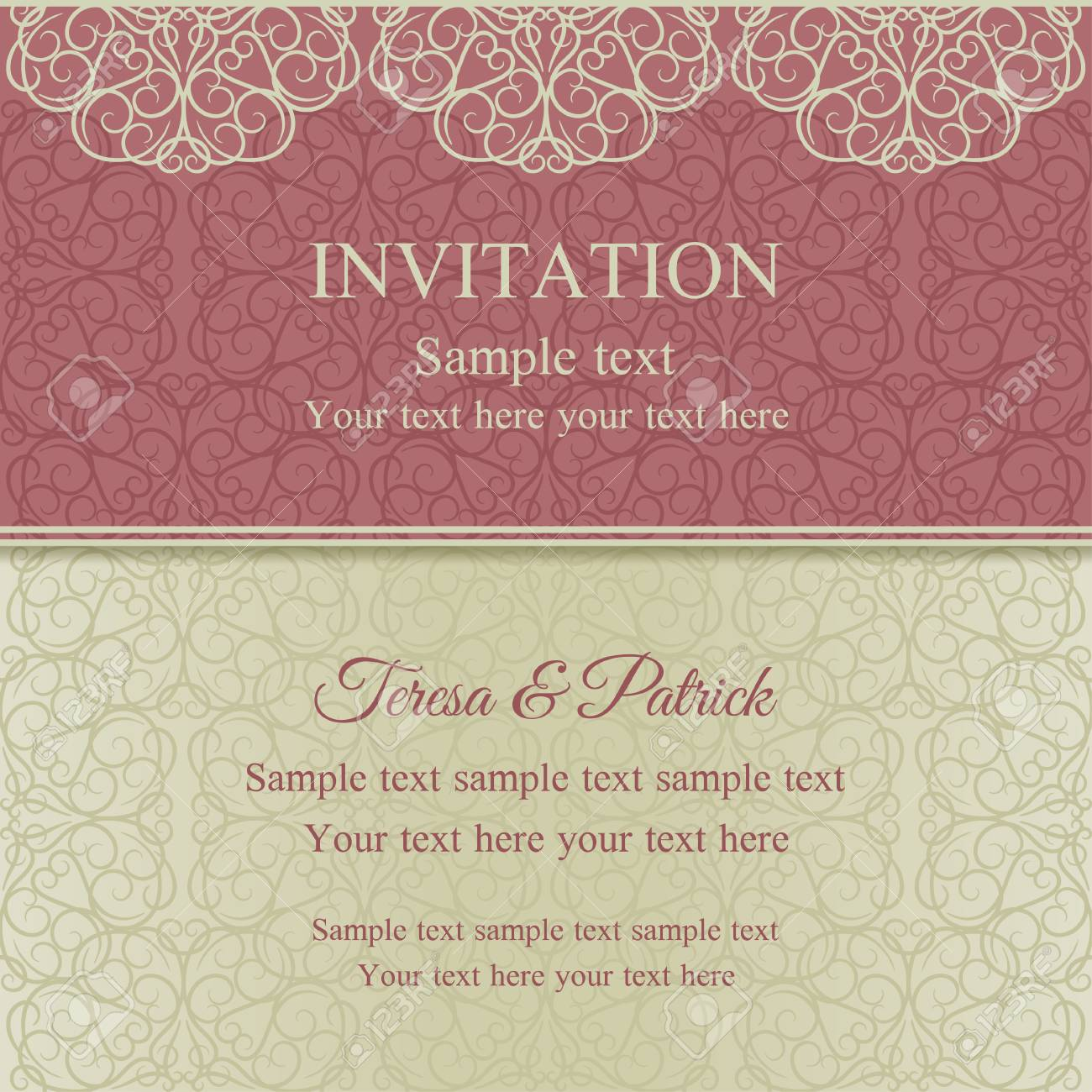 Baroque Invitation Card In Old-fashioned Style, Pink And Beige ...
