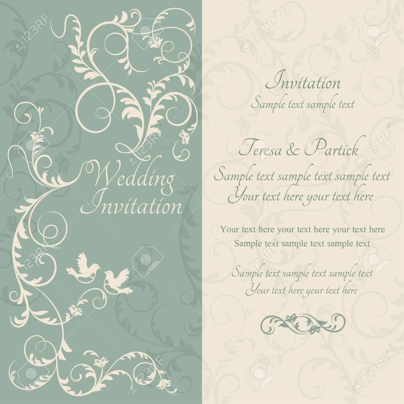 Antik Barock Hochzeit Verzierte Einladung Paar Vögel, Blau Und Beige  Standard Bild   32060336