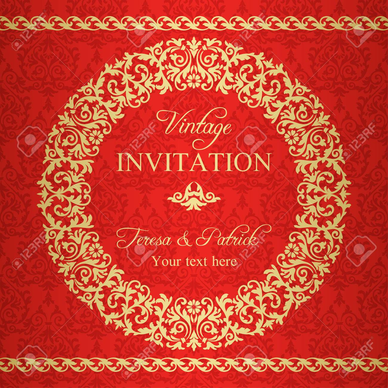 Baroque invitation card in old fashioned style gold and red royalty baroque invitation card in old fashioned style gold and red stock vector 33389315 stopboris Choice Image