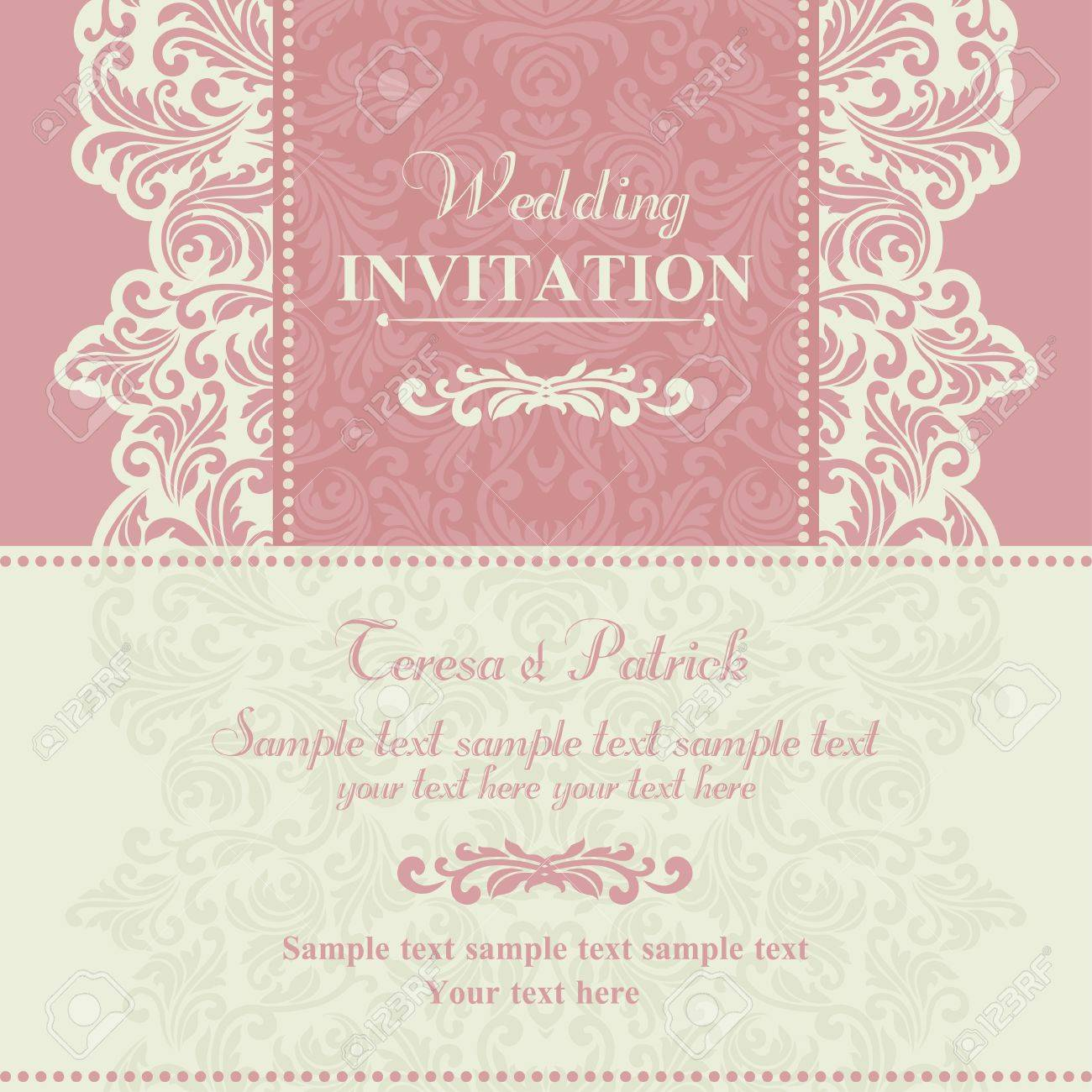 Baroque wedding invitation card in old fashioned style pink baroque wedding invitation card in old fashioned style pink and beige stock vector stopboris Choice Image