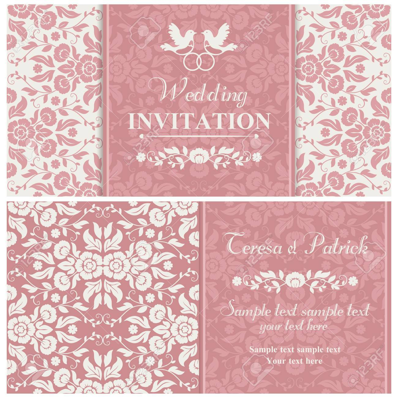 Antique Baroque Wedding Invitation, Couple Of Birds With Ring ...
